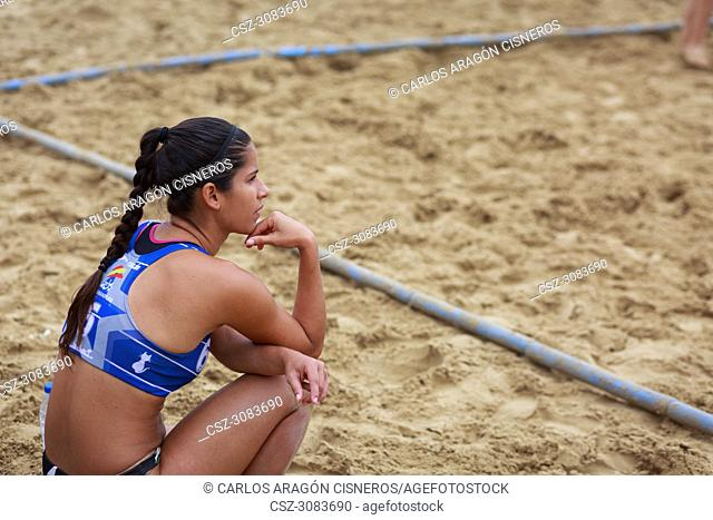 LAREDO, SPAIN - JULY 30: Juliana Xavier Andrade de Oliveira, BMP Algeciras player watch the game on the sideline, waiting her turn to play in the Spain handball...