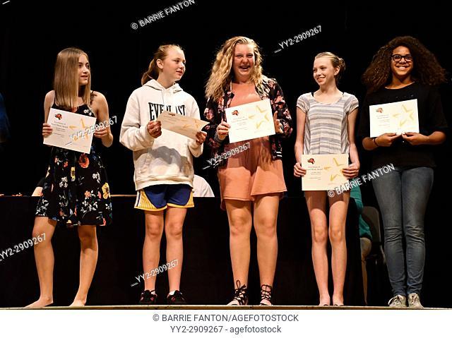 7th Grade Girls Receiving Achievement Awards, Wellsville, New York, USA