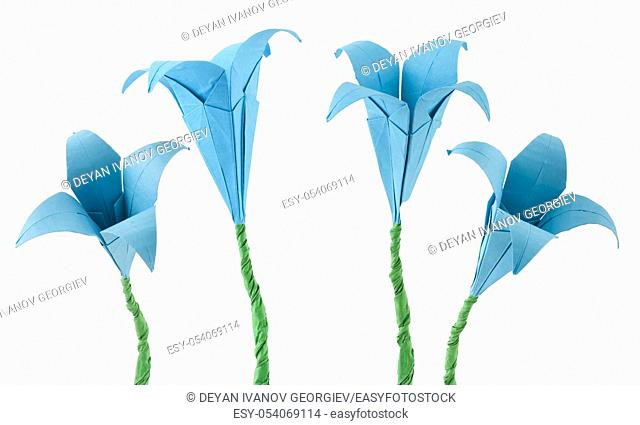 Blue Flowers origami white isolated. Paper made flowers