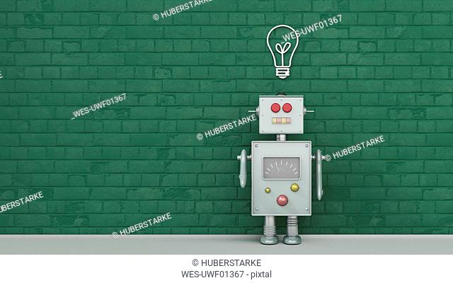 Robot under light bulb painted on brick wall, 3d rendering