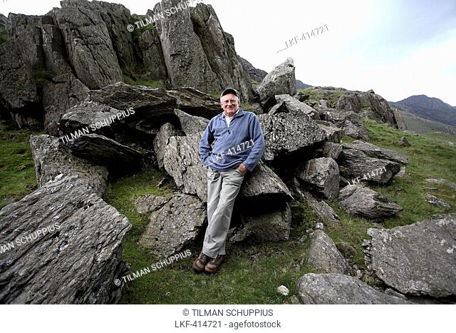 Anthony Cain, artist from Llanberis, in the mountains at Llanberis, North Wales, Great Britain, Europe