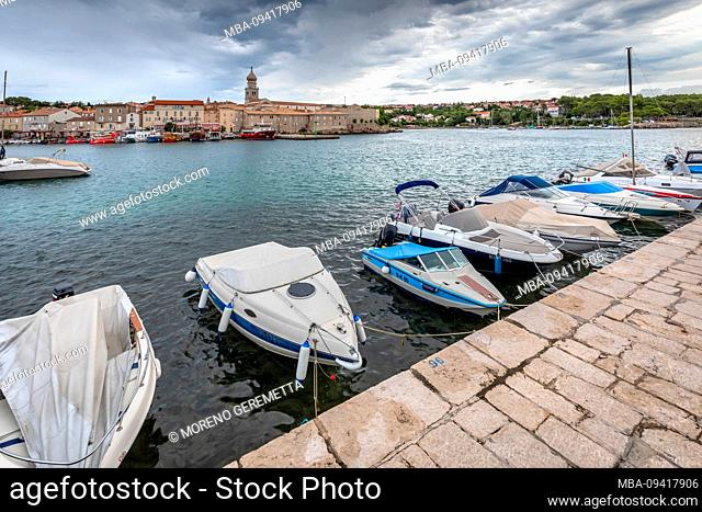 Town of Krk, marina view, island of Krk, Kvarner bay, Adriatic coast, Croatia