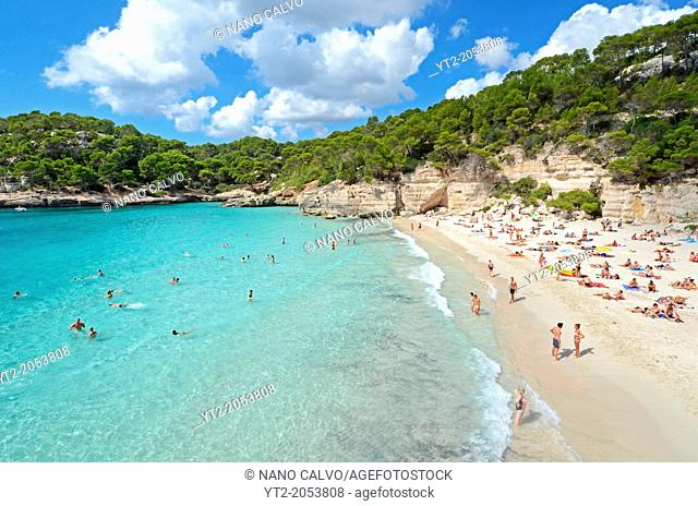 Cala Macarella, popular beach on the south of Menorca