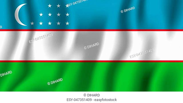 Uzbekistan realistic waving flag vector illustration. National country background symbol. Independence day