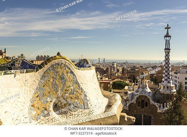 Barcelona - December 2018: Antoni Gaudí's mosaic work on the main terrace at Park Guell