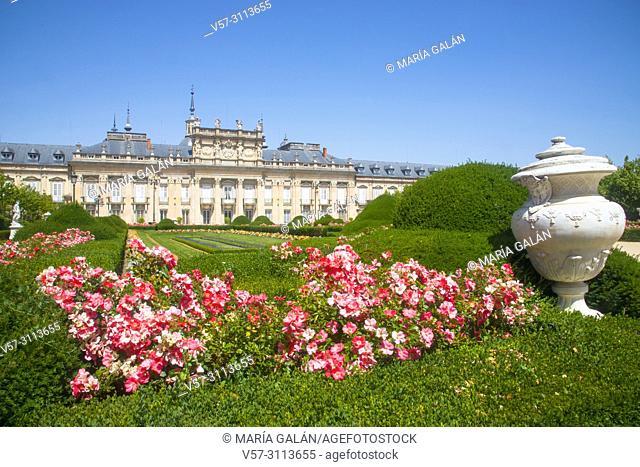 Facade of Royal Palace and gardens. La Granja de San Ildefonso, Segovia province, Castilla Leon, Spain