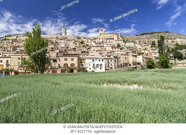 General village view, medieval village of Guimera, Province Lleida, Catalonia, Spain