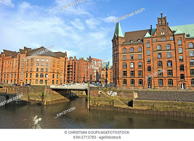 remarkable building of Block P on the edge of Zollkanal in the Speicherstadt (City of Warehouses), HafenCity quarter, Hamburg, Germany, Europe