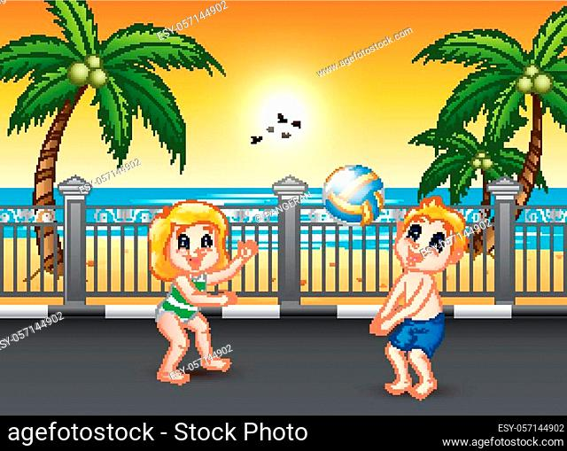 Funny children playing volleyball at the seaside street