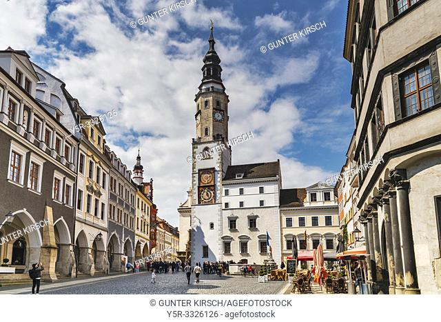 The Old Town Hall is located on the Untermarkt (Lower Market square). The Town Hall Tower is 63 meters high, Goerlitz, Saxony, Germany, Europe