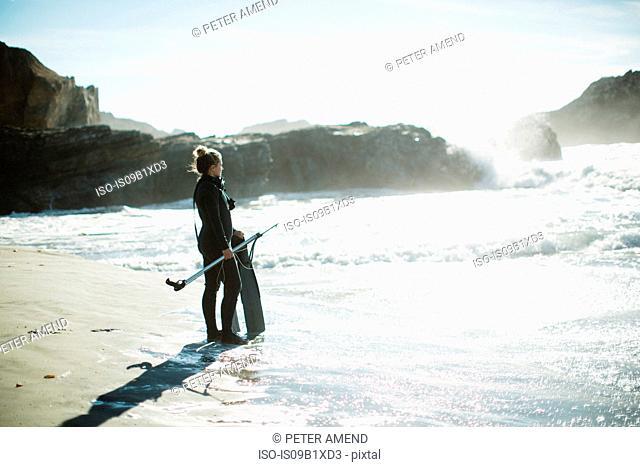 Diver with speargun on beach, Big Sur, California, USA