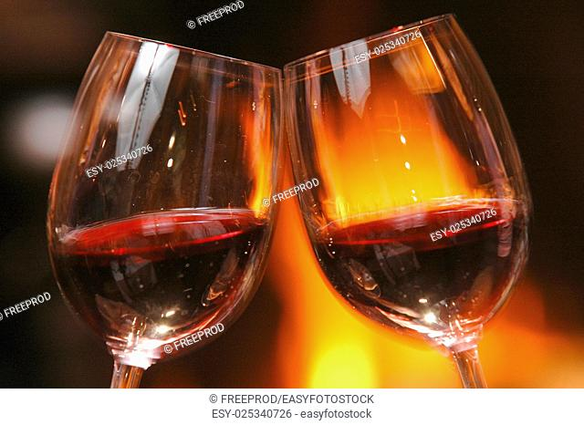 Glass of wine beside the fire, Friends, Family
