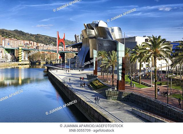 Nervion River and Guggenheim Museum, Bilbao, Biscay, Basque Country, Euskadi, Euskal Herria, Spain, Europe