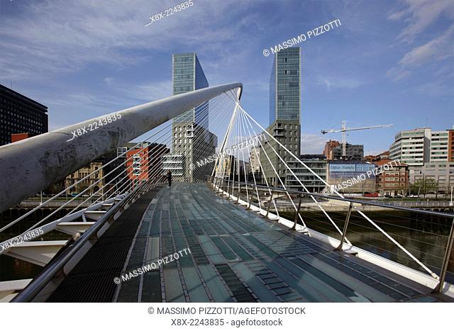 The Zubizuri footbridge (white bridge), also called the Campo Volantin Bridge, across River Nervion, Bilbao, Spain