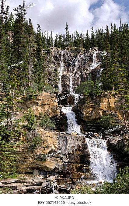 Tangle Creek waterfall in Alberta in Canada
