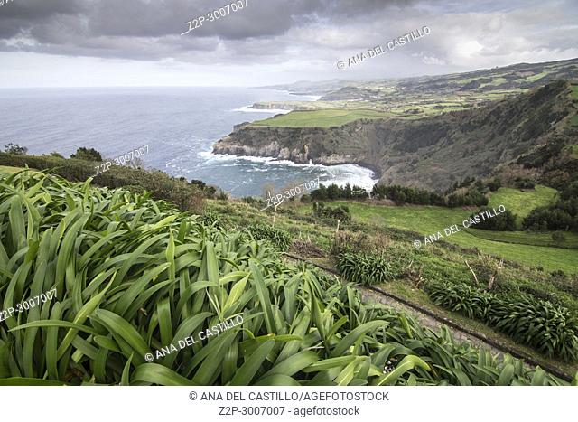 Panoramic view of the coastline of Sao Miguel island from Santa Iria viewpoint. Azores. Portugal