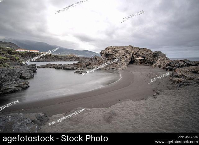 Los Cancajos black beach in the South of La Palma island Canary islands Spain