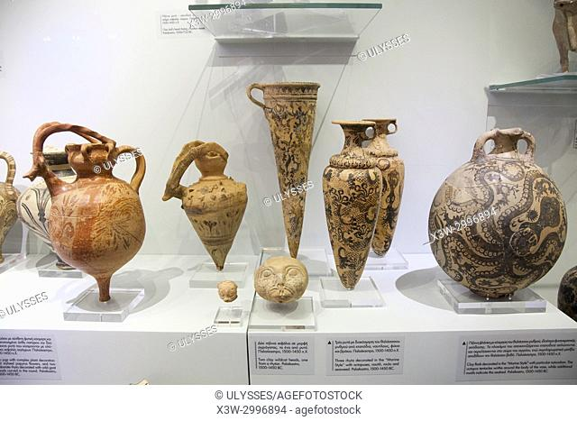 Clay flask, jugs, wildcat heads and rhyta from Palaikastro dated 1500-1450 BC, Archaeological Museum of Heraklion, Iraklio, island of Crete, Greece, Europe