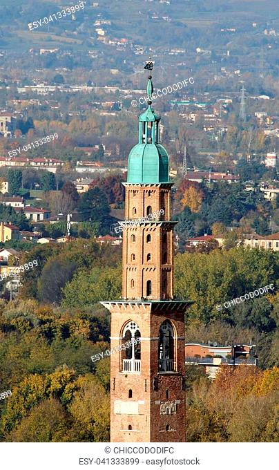 detail of high tower of the monument called Basilica Palladiana in Vicenza City in Northen Italy