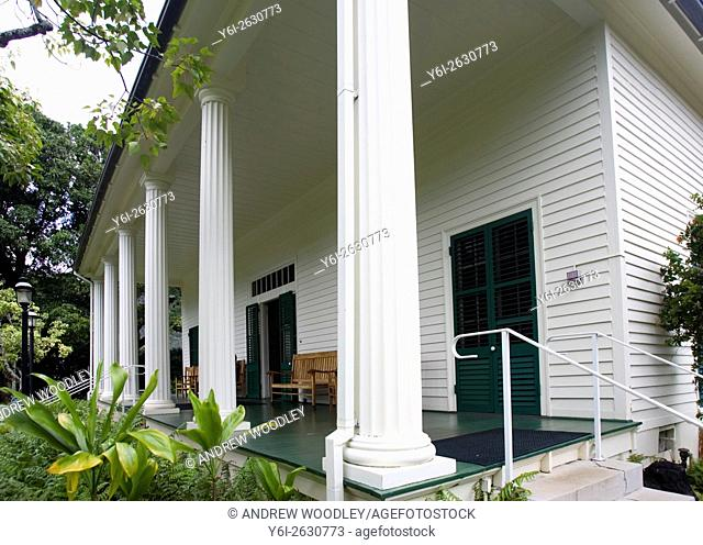 Restored Queen Emma Summer Palace Nu'uanu Valley near Honolulu Hawaii USA