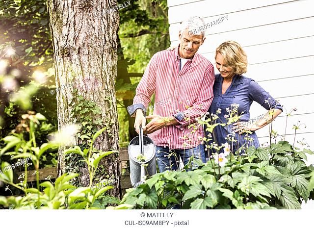 Husband and wife watering plants in garden
