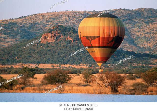 Portrait of a Hot Air Balloon Sailing Over a Reserve  Pilanesberg National Park, North-West Province, South Africa
