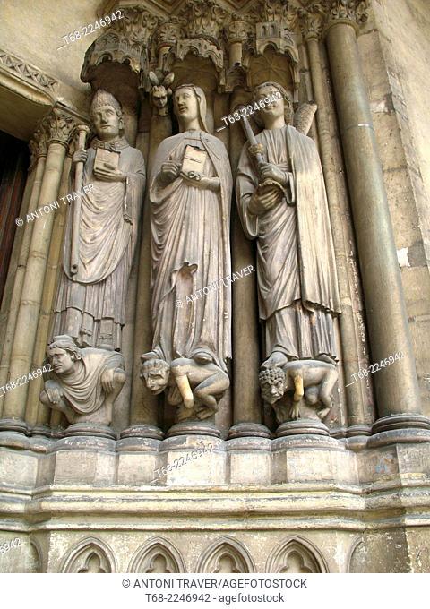 Detail of the entrance of the Church of Saint-Germain l'Auxerrois, Paris, France