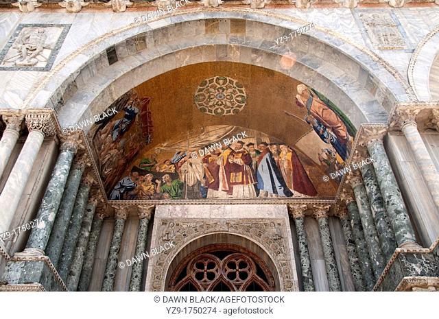 Arrival of St  Mark's Body in Venice, mosaic detail, St  Mark's Basilica, Venice, Italy