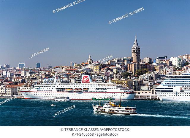The Karakoy cruise ship port in Istanbul, Turkey, Eurasia