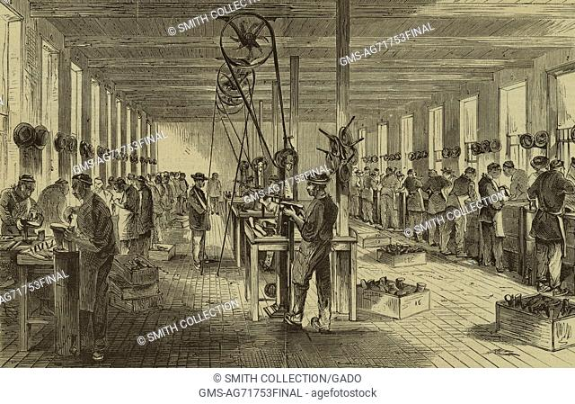Engraved illustration depicting the interior of Calvin T Sampson's shoe factory in North Adams, Massachusetts showing Chinese immigrants fastening soles onto...