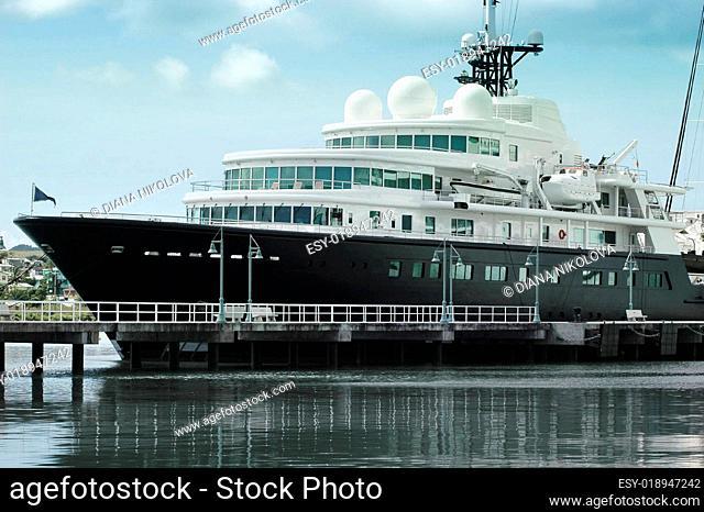 Large luxury yacht anchored in Antigua,caribbean islands