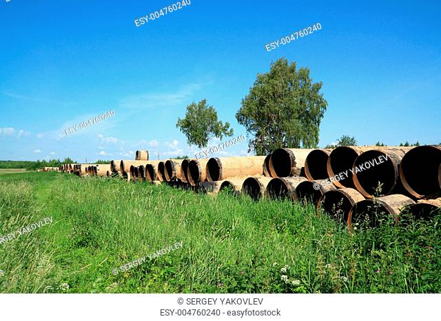 old gas pipes on field