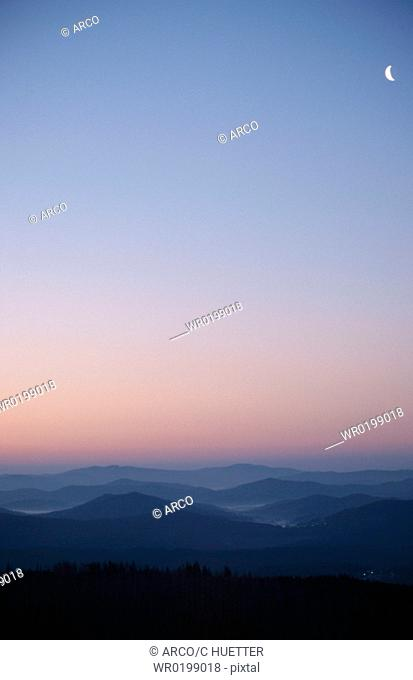View, on, Bavarian, forest, from, the, Lusen, at, dawn, Bavaria, Germany