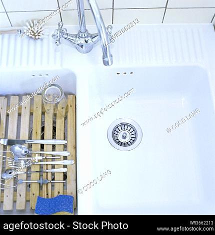 Kitchen sink, elevated view