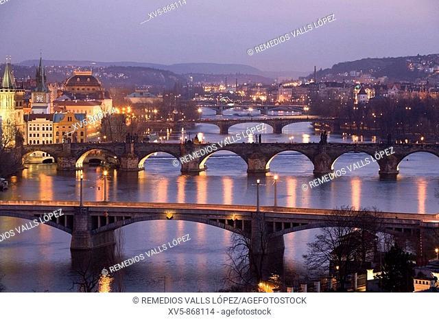 Czech Republic. Prague. Moldava River view from Letna Park