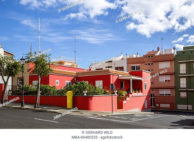 Coloured houses in San Pedro de Breña Alta, La Palma, Canary islands, Spain