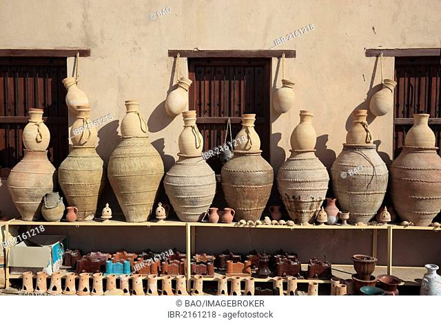Pottery as souvenirs, Nizwa, Oman, Arabian Peninsula, Middle East, Asia