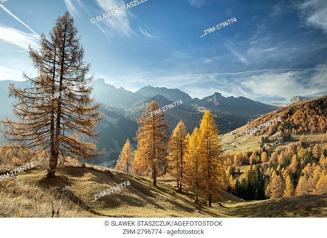 Autumn morning in the Dolomites near Arabba, Italy