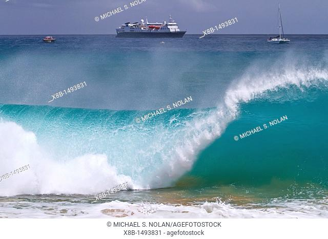 HUGE waves breaking on the beach in front of the National Geographic Explorer at Ascension Island in the Tropical Atlantic Ocean  MORE INFO Ascension Island is...