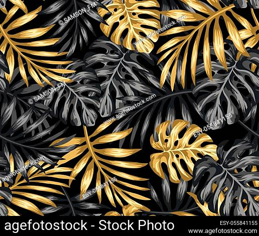 pattern drawing with gold and black tropical leaves on a dark background. Exotic botanical background design for cosmetics, spa, textile, hawaiian style shirt