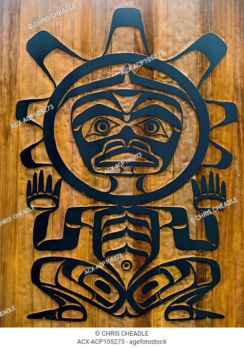 Details, U'mista Cultural Centre, Alert Bay, Cormorant Island, Vancouver Island, British Columbia, Canada