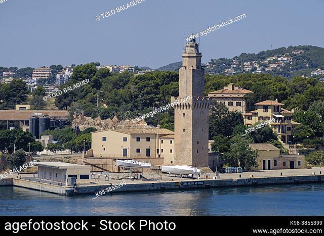 Portopí lighthouse, port of Palma, Mallorca, Balearic Islands, Spain