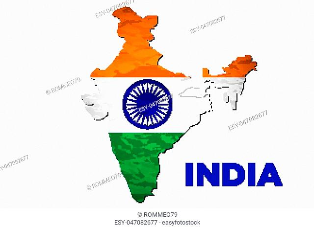 Vector illustration of India flag map. art