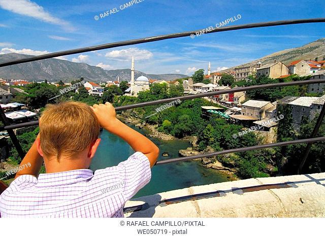 View from the main bridge. Mostar. Bosnia and Herzegovina