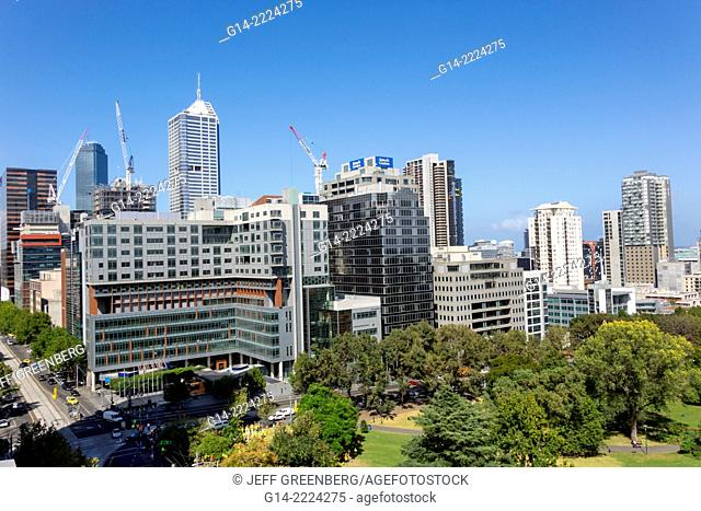Australia, Victoria, Melbourne, Central Business District and Flagstaff Gardens