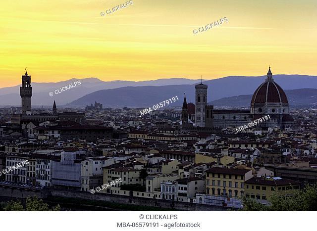 Florence-Tuscany, Italy Cathedral Santa Maria del Fiore at sunset