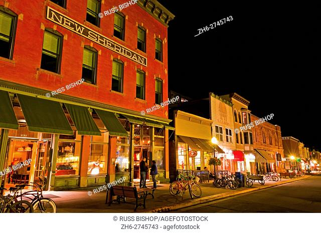 Historic downtown buildings at night, Telluride, Colorado USA