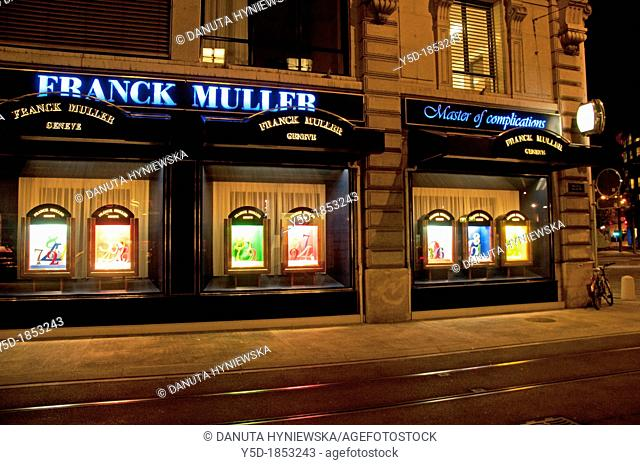 exposition of Franck Muller famous Swiss watchmaking company from Geneva, Geneva, Switzerland