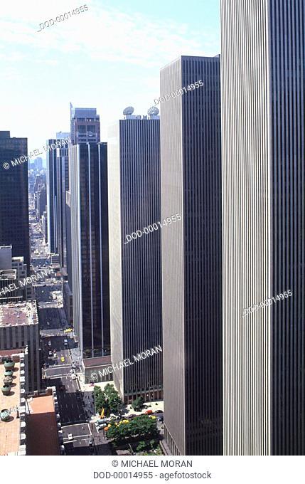 USA, Manhattan, Rockefeller Center, row of grey skyscrapers, elevated view