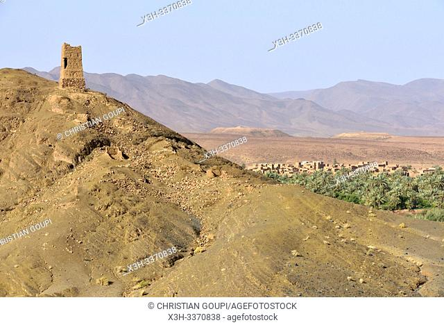 watchtower, Draa River valley, Province of Zagora, Region Draa-Tafilalet, Morocco, North West Africa